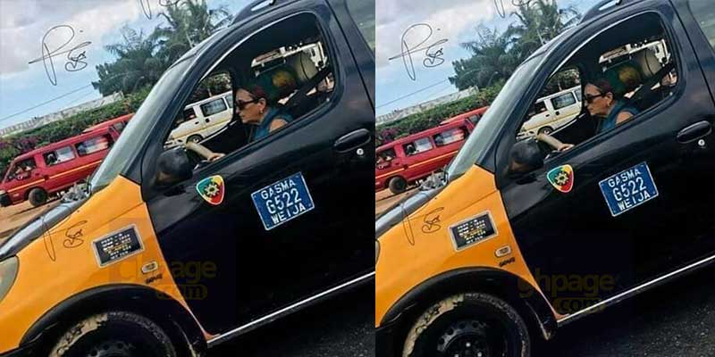 Photo of a white lady driving a taxi goes viral on social media