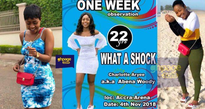 One week observation poster of Abena Woodey pops up online