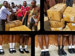 Abraham Attah donates 5 boxes of shoes to students in Teacher Kwadwo's school
