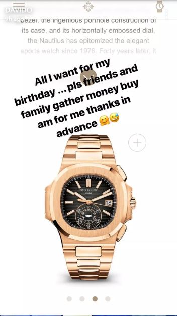get me this $85,000 watch for my birthday - Davido to his friends & family