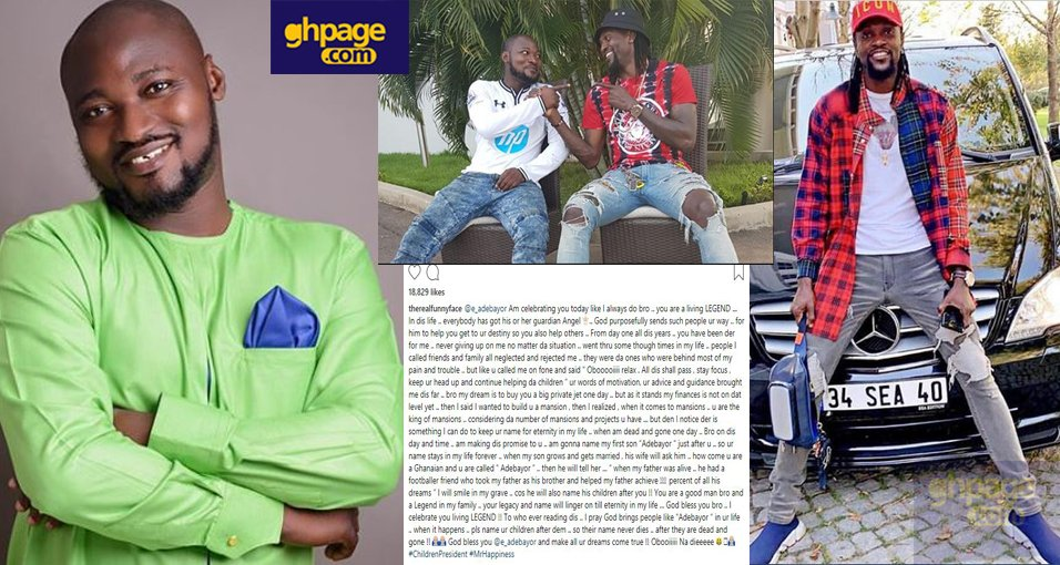 """I'll name my first son after Adebayor"" – Funny Face sends a heartwarming message to Adebayor"