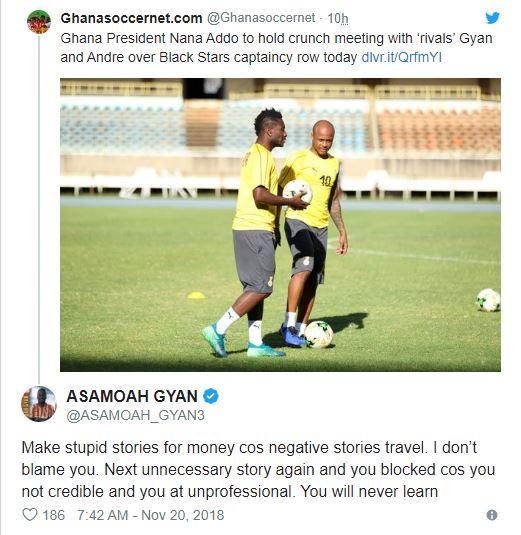 """Make stupid stories for money; 'I'll block you"" - Asamoah Gyan fires Ghanasoccernet"