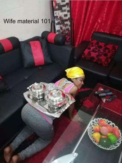 Lady reveals she serves her husband food by crawling, advises ladies to do same