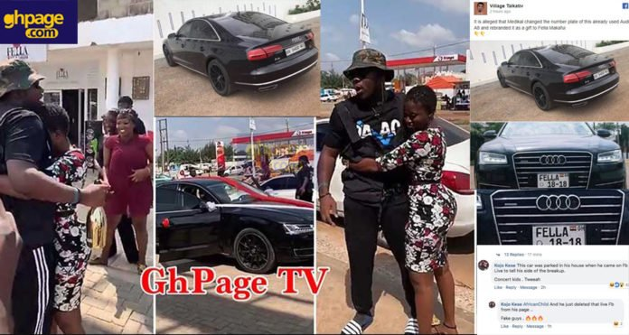 Medikal allegedly gave Fella Makafui an already used Audi A8 car by changing its number plate