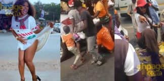Afia Schwarzenegger distributes food and drinks for poor people on the street