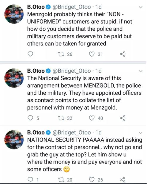 NAM 1 is secretly paying top police, military clients to evade arrest – BridgNAM 1 is secretly paying top police, military clients to evade arrest – Bridgette Otoo revealsette Otoo reveals
