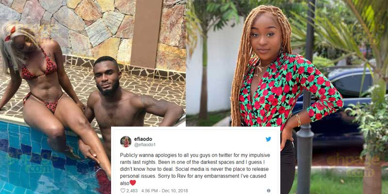 Efia Odo apologises to ex-boyfriend after he warned her