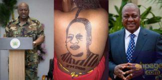 Woman tattoos former President John Dramina Mahama at her back