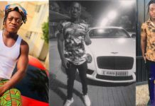 Sumsum Ahoufe pose with a Bently after arriving in Dubai