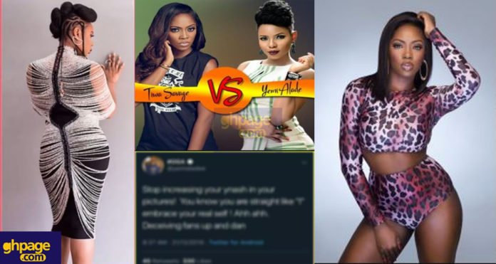 Yemi Alade 'mocks' Tiwa Savage of using photoshop to edit her butts