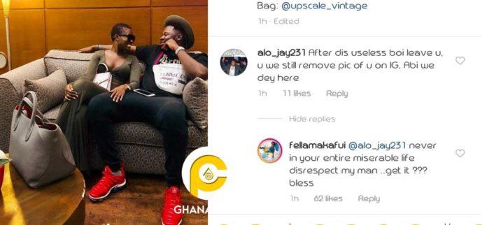 Fella Makafui slams fan for disrespecting her boyfriend Medikal