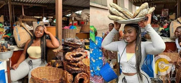 Picture of beautiful slay queen selling fish in the market goes viral