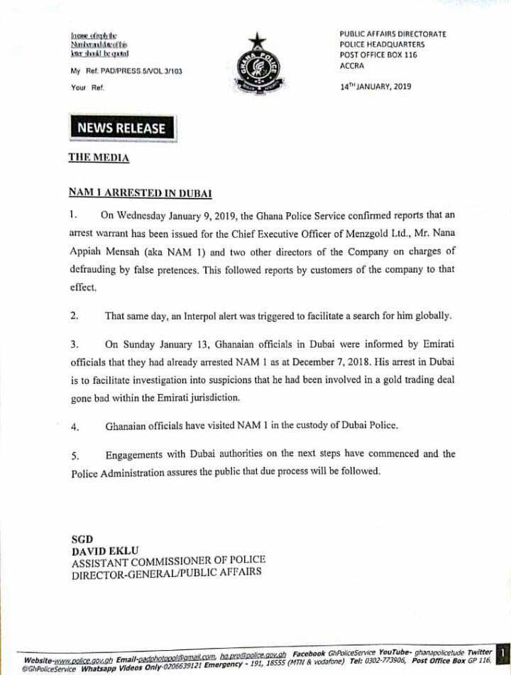 Ghana police confirm NAM1's arrest