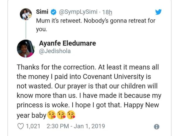 Simi and mothers tweet