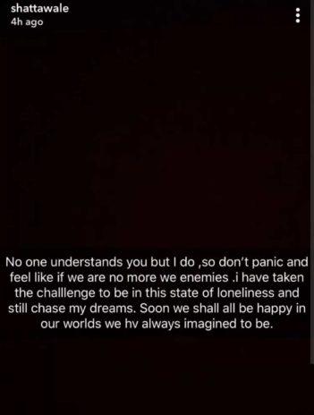 Shatta Wale Snapchat screen shot