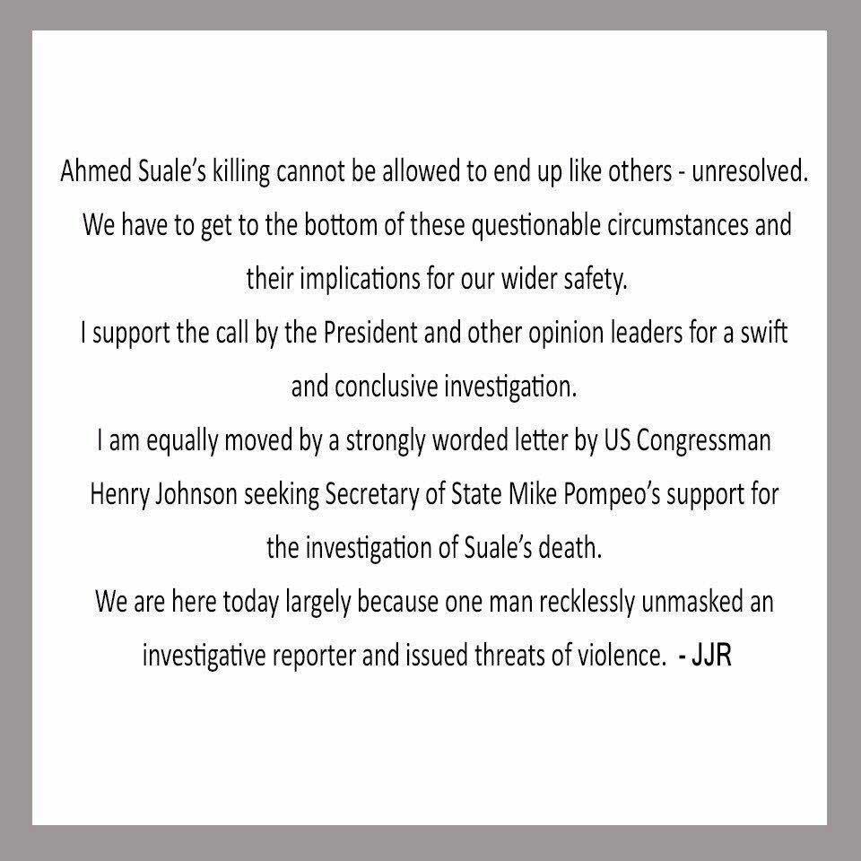 Jerry John Rawling's tweet on Ahmed Hussein Suale's murder