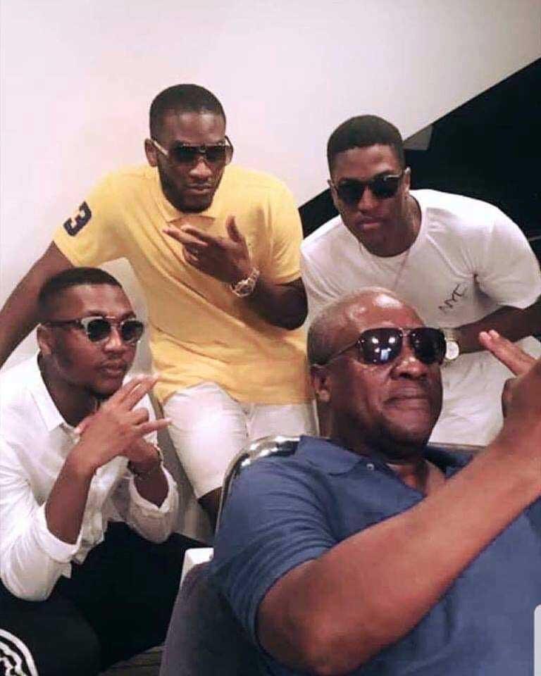Former president John Dramani Mahama and his sons