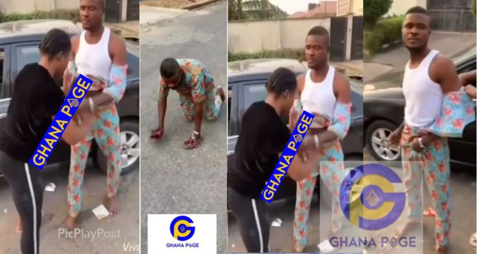 Lady beats and strips clothes of young taxi driver who stole her iPhone 8