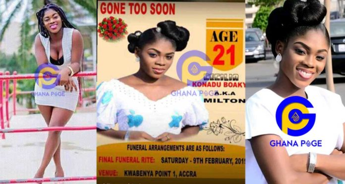 Tears flow as Funeral Poster Milton,lady who committed suicide after sex video leaked pops ups