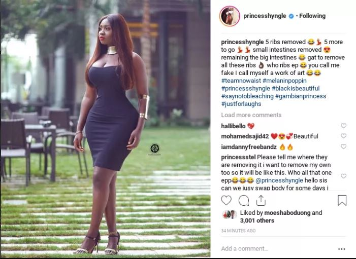 I removed 5 ribs and intestines to have a 'Tapoli' body – Princess Shyngle
