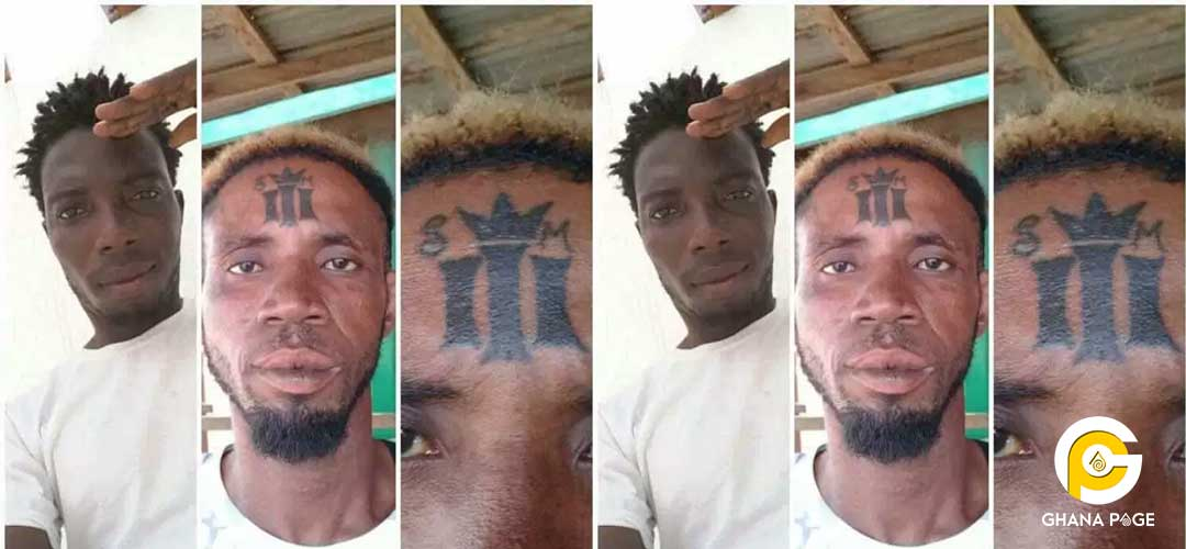 Shatta Wale fan tattoos his reign album sign on his forehead