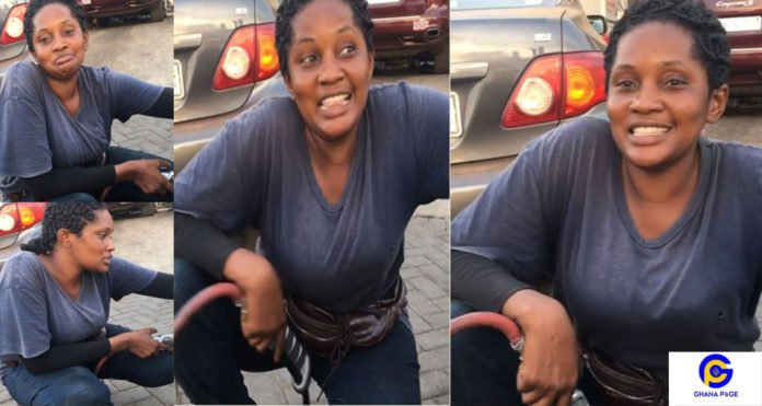 Meet the Ghanaian female vulcanizer, Sandra Sam who does the work perfectly