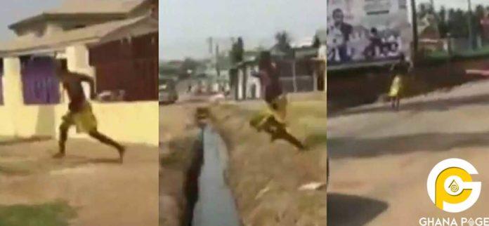 Hilarious scene when Owusu Bempah's gateman fled in only a towel around his waist