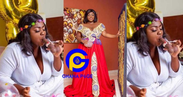 Photos of Kumawood's Tracey Boakye sucking D*ck on her 28th birthday hits social media [SEE]