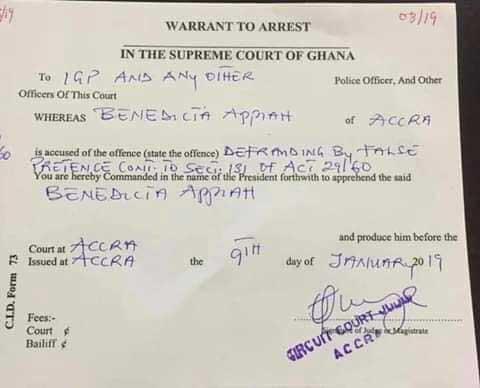 Warrant for the arrest of Benedicta Appiah