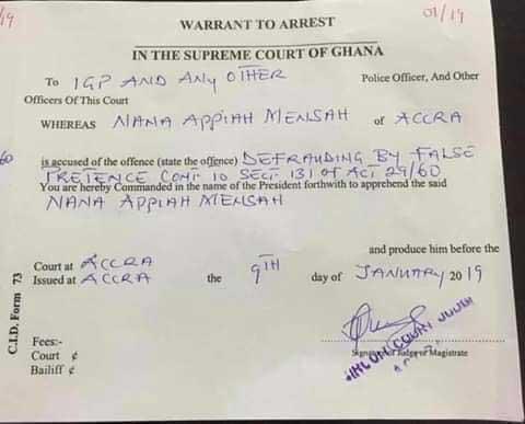 Warrant for the arrest of Nana Appiah Mensah