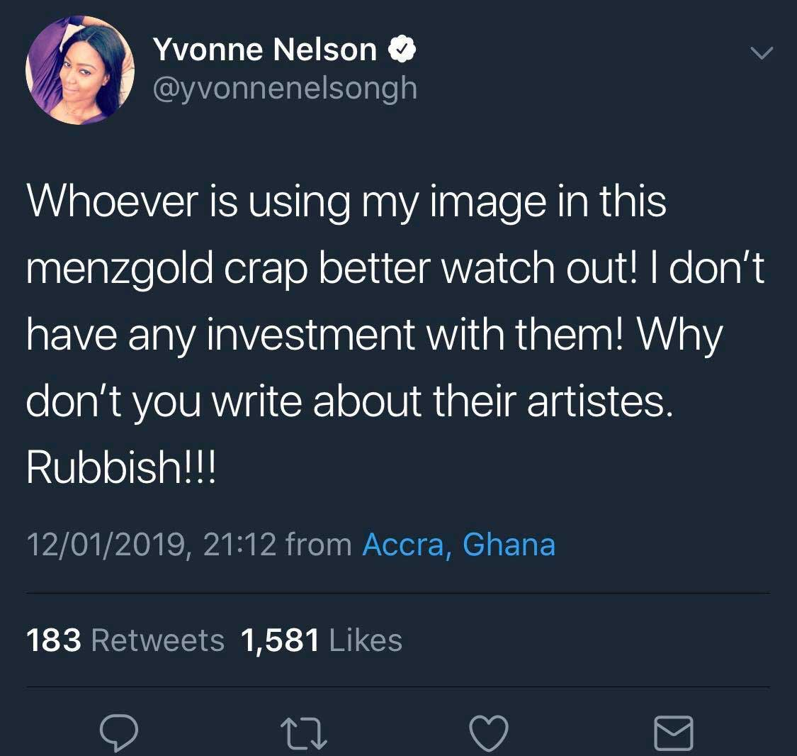 Yvonne Nelson speaks on Menzgold