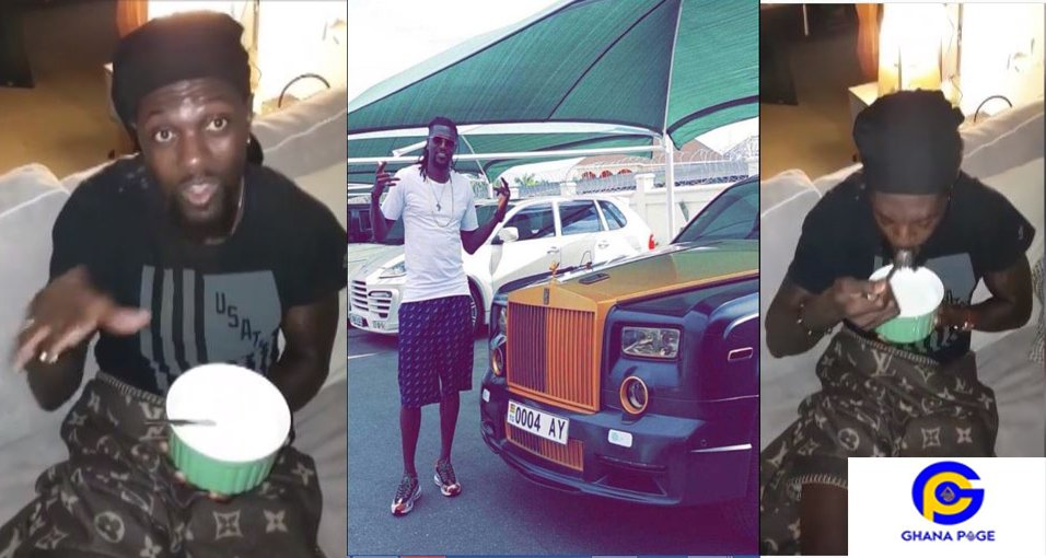 Video of rich Adebayor drinking gari soakings causes stir on social media