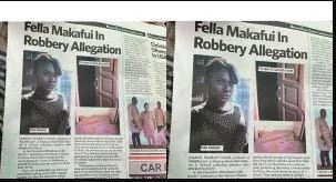Fella Makafui involved in invading robbery allegation
