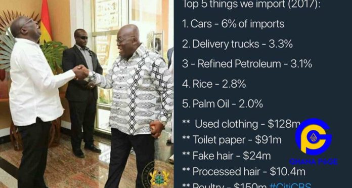 Ghana imported $91m of toilet paper, $128m of used clothes and $24m of fake hair in 2017 alone
