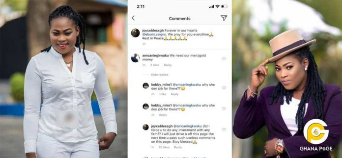 Joyce Blessing blasts fan who angered her with a Menzgold comment
