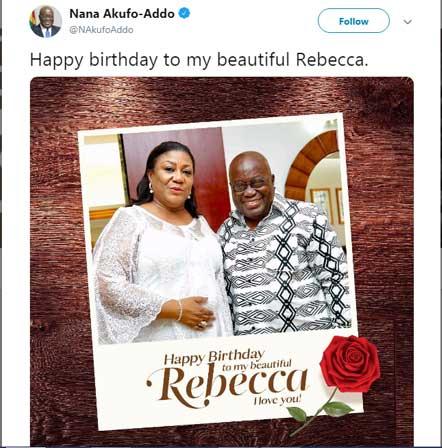 AKUFO REBECCA BIRTHDAY - President Akufo Addo celebrates wife on her 68th birthday