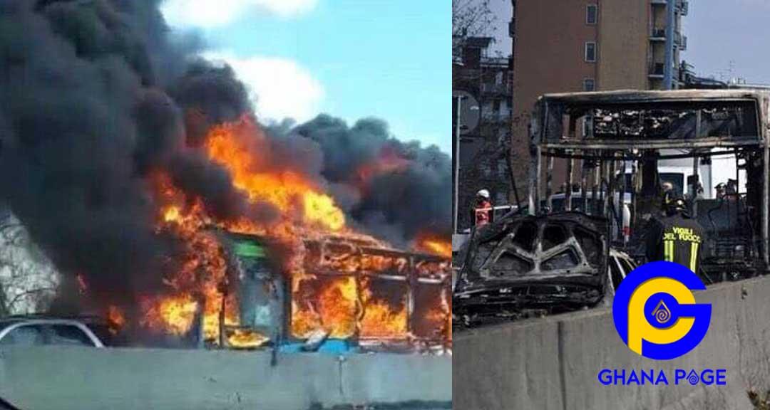 Italy: Driver hijacks school bus with 49 kids, 2 teachers and sets it ablaze