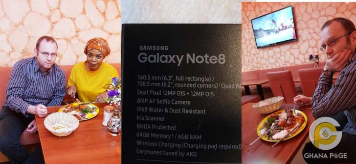Joyce Dzidzor receives a Samsung Note 8 as gift from German friend