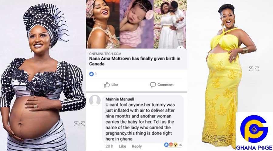 MCBROWN MANIE FAKE PREGNANCY - Social media user accuses Nana Ama McBrown of faking her pregnancy