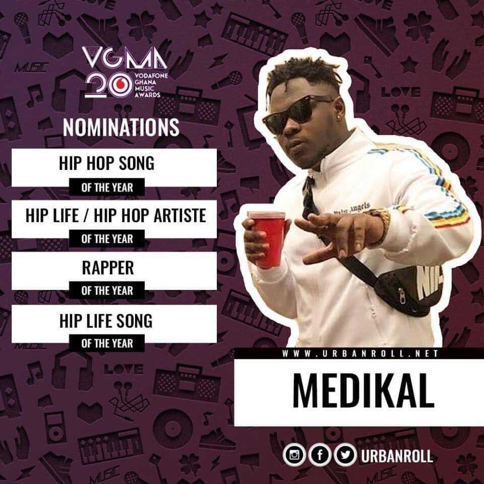 Medikal Nomination VGMA 2019 - VGMA 2019:Categories Sarkodie,Shatta &Medikal have been nominated in