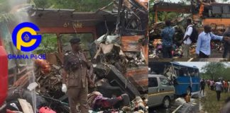 Another deadly accident on Winneba-Mankesim road: Metro Mass bus crashes into Neoplan bus