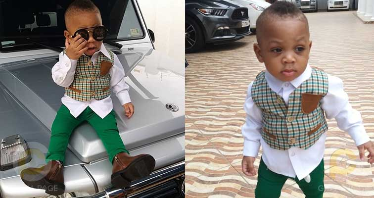Obofour Junior - Rev Obofour's son swag up in style as he poses on his father's G-Wagon