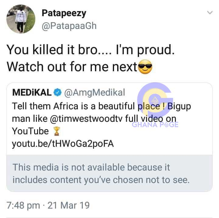 Patapaa Next Tim Westwood - Medikal killed his freestyle on Tim Westwood; Watch out for me-Patapaa