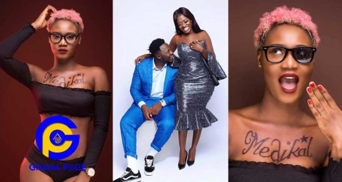 Photos: Desperate female musician tattoos Medikal's name on her breast to gain his attention