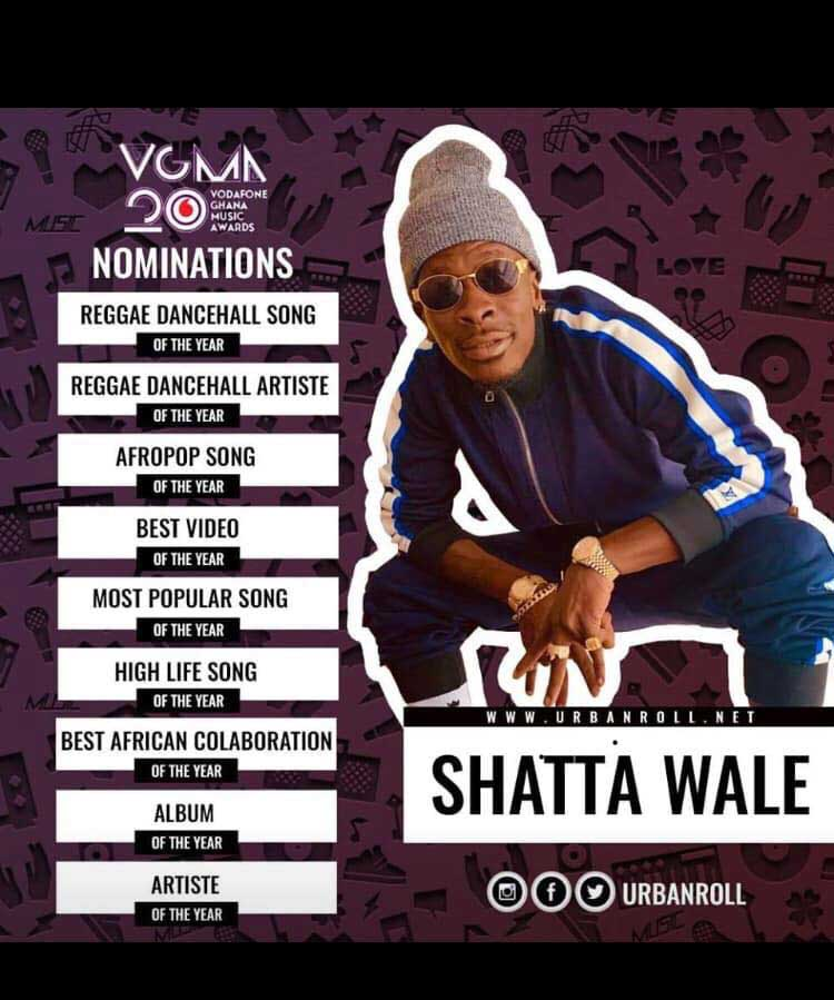Shatta Wale Nomination VGMA 2019 - VGMA 2019:Categories Sarkodie,Shatta &Medikal have been nominated in