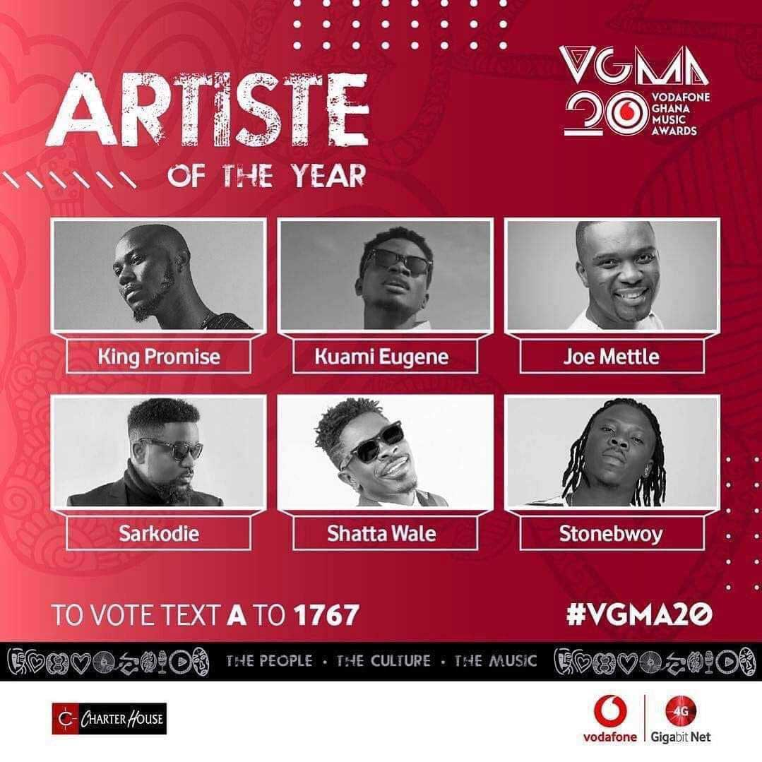 VGMA 2019 Artist of the year 1 - List of artists battling for Artist of the Year at VGMA 2019