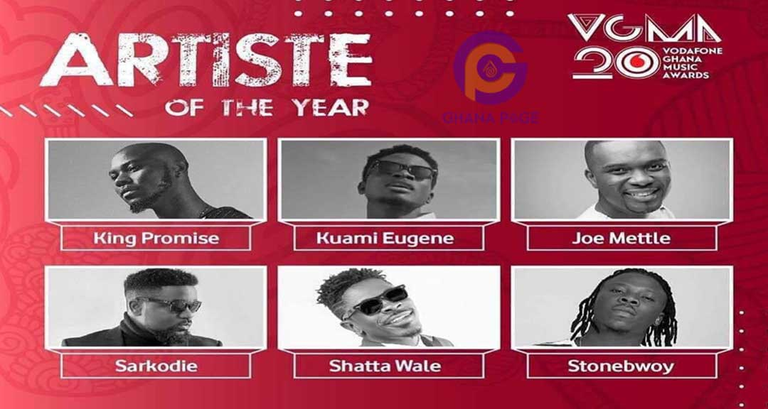 VGMA 2019 - List of artists battling for Artist of the Year at VGMA 2019
