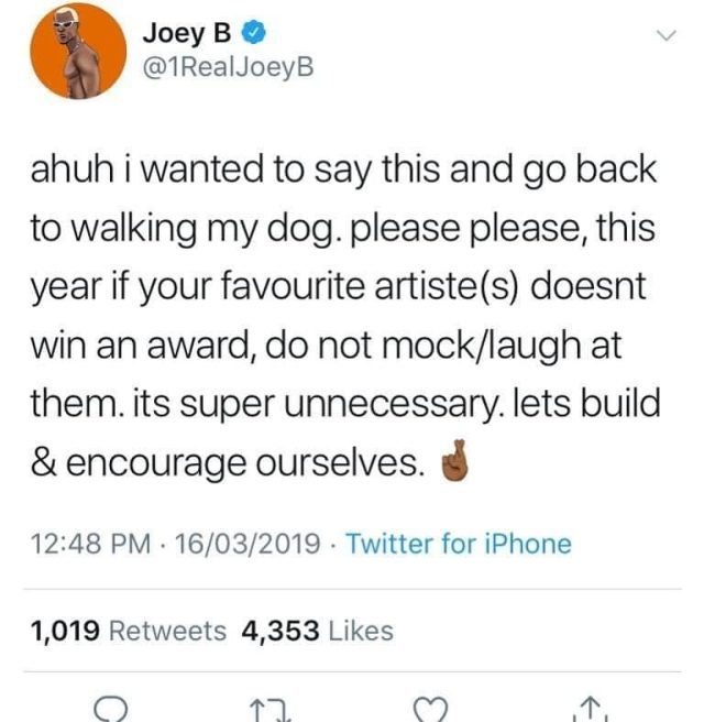 joey b - Don't laugh at artiste when they don't win awards – Joey B