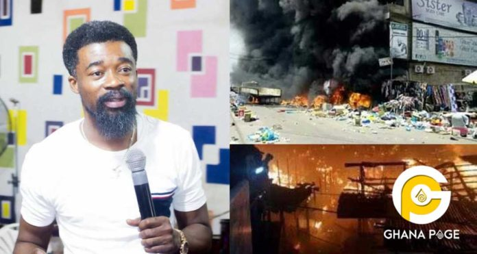 Video of Eagle Prophet prophesying Friday's Kumasi Central Market's fire outbreak 2 months ago surfaces
