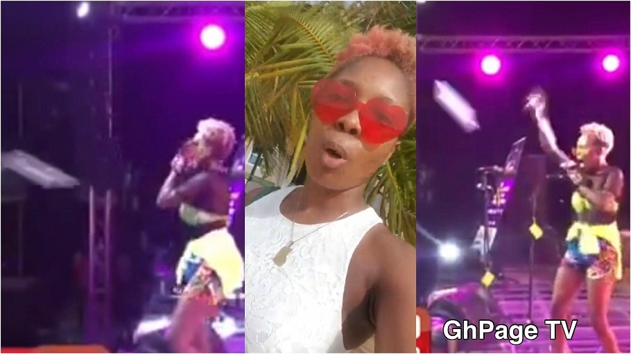 Feli Nuna reacts after fans threw sachet water at her at Ebony Memorial concert